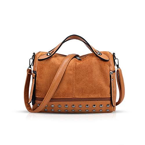 NICOLE & DORIS Handtaschen für Damen Punk Henkeltasche Coole Vintage Handtaschen Schultertaschen Umhängetasche Braun