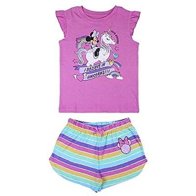 Disney Pijama de Minnie Mouse, pijama de niña, de algodón súper suave, transpirable y acogedor, 2 piezas, camiseta y juego corto, diseño de Minnie Mouse y unicornio, regalo para niñas de 2 a 6 años