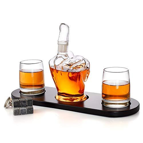 WLCO Copas de Vino Dedo Medio Contemporáneo Creativo Vino Decantador Decantador Botella Craft Whiskey Bottle para Bar Decoración para el hogar Aireador de Licor Personalizado 613