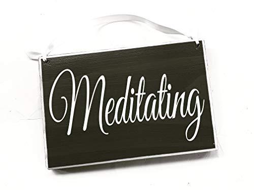 Meditating 8x6 Custom Wood Sign Zen Yoga Soft Voices OM Please Do Not Disturb Yoga Meditating Meditation In Session In A Meeting Shhh Door Plaque