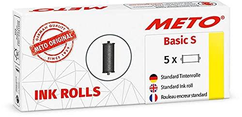 Original Meto Rouleaux encreurs pour étiqueteuse Arrow S, réf. 9505909 (1 ligne x 8 caractères pour étiquettes de 22 x 12 mm), 5 unités, noir