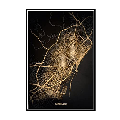 Kying Amsterdam Barcelona Modern World City Gold Map Travel Posters Pinturas Arte...