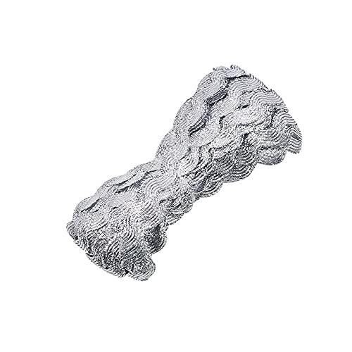 Cinta de encaje de 25 m de 5 mm de oro y plata centípios trenzados de encaje DIY ropa de costura accesorios de encaje curva boda Decorati-B21 plata, 25 m