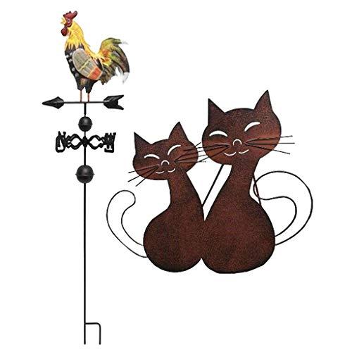 Tubayia Metall Hahn Wetterfahne mit Katze Gartenfigur für Terrasse Garten Dekoration
