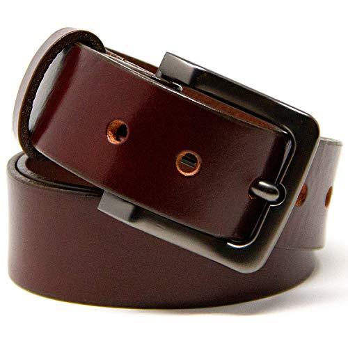 Logical Leather Men's Belt - Heavy Duty Genuine Leather (Chestnut)