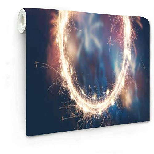 """Fireworks Background with Empty Sparkler Frame for Your Text Wallpaper Self-Adhesive Removable- 100"""" x 143.7"""" Peel and Stick Wall Mural Decorative Wall Living Room Kitchen Liner Vinyl"""