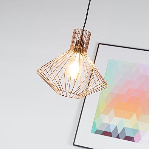 Lampada a sospensione in rame, lampada a sospensione Vintage E27 max. 42W