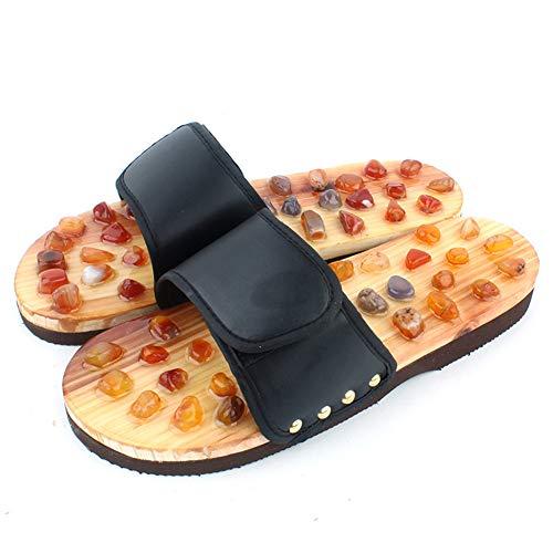 Jmung Fußmassagegerät Hausschuhe Schuhe Achat Steine Fuß Slipper Massage Sandalen Schuhe Füße Massage Hausschuhe,Schwarz,35~36