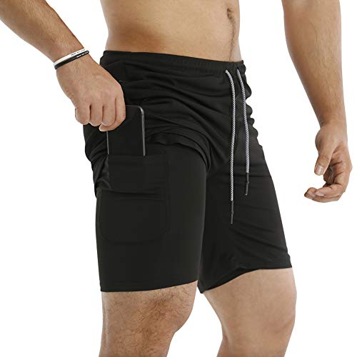 "MECH-ENG Men's Workout Running 2 in 1 Shorts Training Gym 7"" Short with Pockets(Black L/Tag 2XL)"