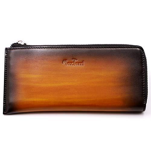 Carteras de cuero para hombres con cremallera, puramente hechas a mano color de limpieza cartera de embrague