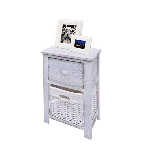 Bedside Tables,2Pcs Paulownia Wood Side End Coffee Sofa Table Floor Wooden Bedside Cabinets Nightstand Telephone Stand with Drawer and Wicker Storage Basket for Living Room Bedroom White,28x31x45cm