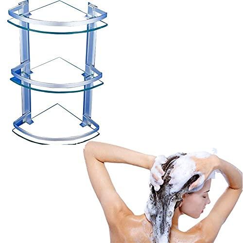 NuanXing Estantes para baño, Organizador de Ducha, Vidrio de 8 mm, montado en la Pared, Gran Capacidad, Espacio Grande, Estante de Almacenamiento para Inodoro, baranda de Aluminio, 1/2/3 Capas