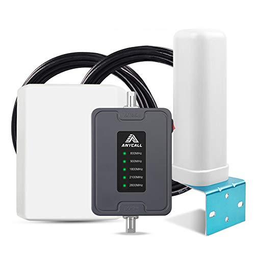 ANYCALL Ripetitore Segnale Cellulare per Tutti Gli Operatori 2G 3G 4G LTE,Potenzia Il Segnale vocale e Dati Cellulare per Camper, trailer, Camion, Auto e Barca - con Antenna Pannello/Omni