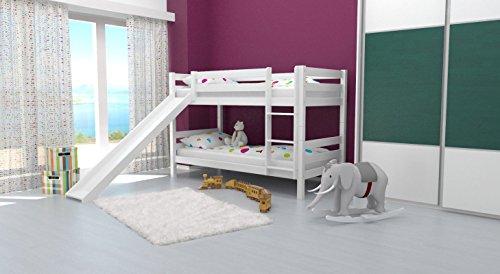 Etagenbett/Spielbett David Buche massiv weiß lackiert mit Rutsche, inkl. Rollrost - 90 x 200 cm, teilbar