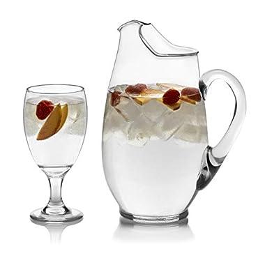 Libbey Carolina Glass Entertaining Set, 6-16 ounce Glass Goblets & 1-90 ounce Glass Pitcher, Lead-Free