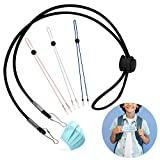 Hiyoo 4pcs Anti-lost Face Cover Lanyard Strap Holder Adjustable Length Ear Saver Extender Elastic Rope Strap Multifunction Around the Neck for Kids Go Back to School Teachers Adults Outdoor Sport