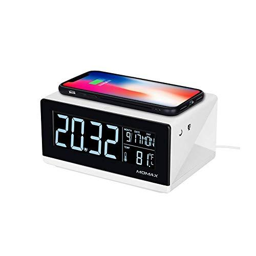 10W Qi Estándar de Tres Modos Cargador inalámbrico de Carga rápida Reloj Despertador LCD Multifuncional para iPhone XS MAX / 8 Plus/XR/Android Pantalla LCD Digital Negativa Reloj Digital LED Snooz