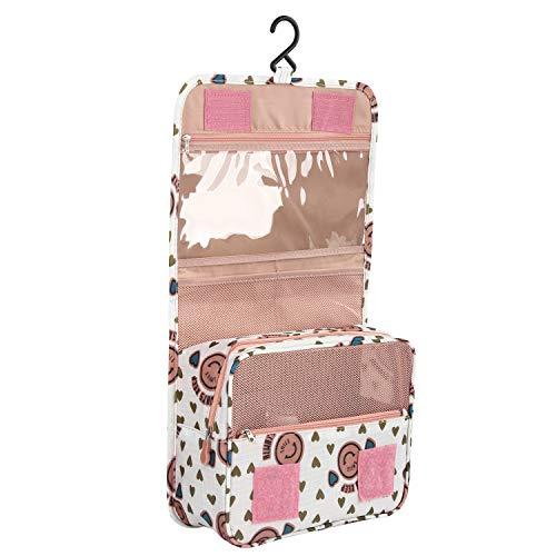 Discoball, beautycase portatile pieghevole da viaggio per accessori di cosmetica con gancio Pink smile