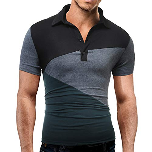 vermers Men's Button Shirt Casual Splicing Turn-Down Collar Short Sleeve T Shirt Top Blouse(S, Green)