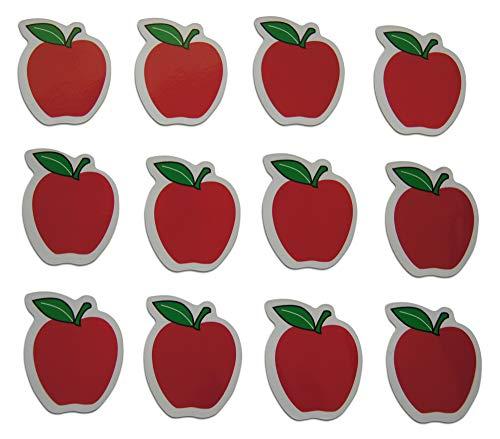 Novel Merk Red Apple Teacher Appreciation Small Refrigerator Magnets Set for Kids Party Favors & School Carnival Prizes Miniature Design (12 Pieces)