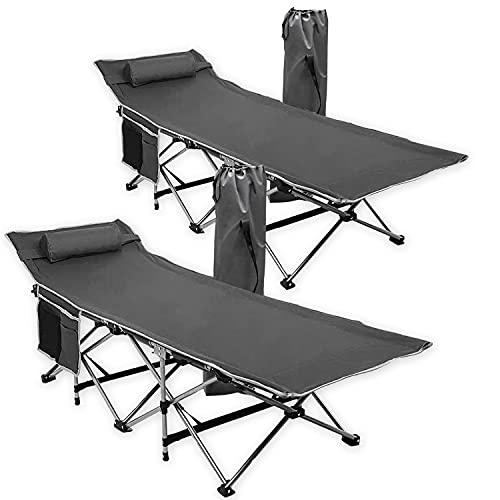 Zone Tech Folding Outdoor Travel Cot - 2 Pack Grey Premium Quality Lightweight Portable Heavy Duty Adult and Kids Travel Cot with Large Pocket-Perfect for Hiking, Camping, and Other Outdoor Activiti