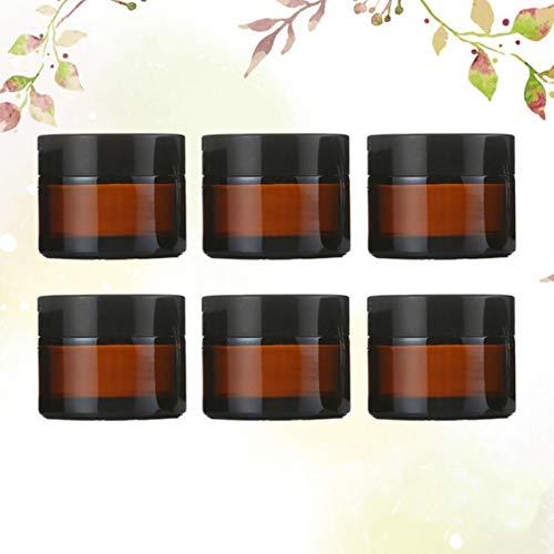 CJHYY 6pcs Bouteille cosmétique Vide en Verre sous Bouteille Bouteille de crème Support de Stockage cosmétique Noir (Bouteille Marron 30g et Bouteille dorée)