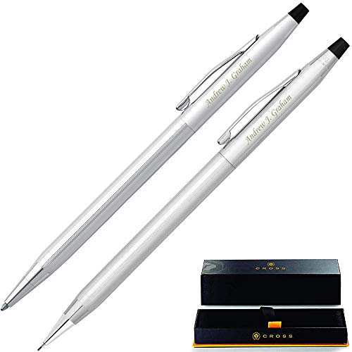 Personalized Cross Pen Set | Cross Classic Century Pen & Pencil Gift Set - Lustrous Chrome. Custom Engraved By Dayspring Pens!