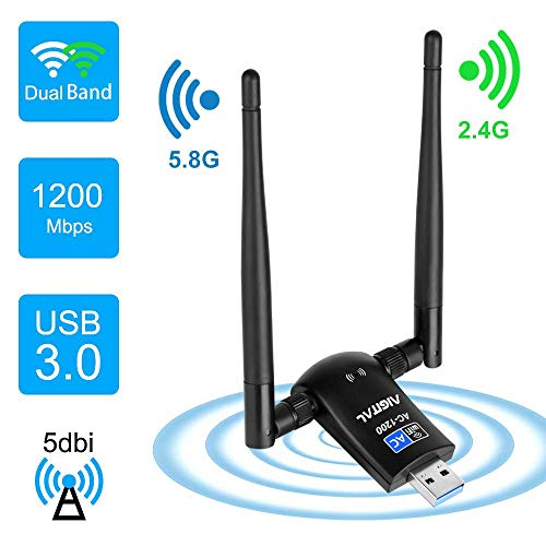 Aigital 1200Mbps WiFi Adapter Wireless Network Card Dual Band 5GHz/2.4GHz with High Gain 2 X 5dBi Antennas USB 3.0 WLAN Dongle for Desktop Laptop, Support Windows 10/8/7/XP/Vista/Mac OS X