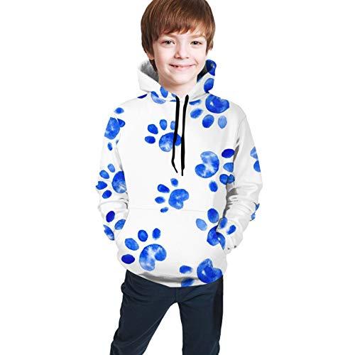 Perro Acuarela Paw Prints Spots Dots Royal Blue Pet Animal Hoodie Casual 3D Digital Printed Shirt Pocket...