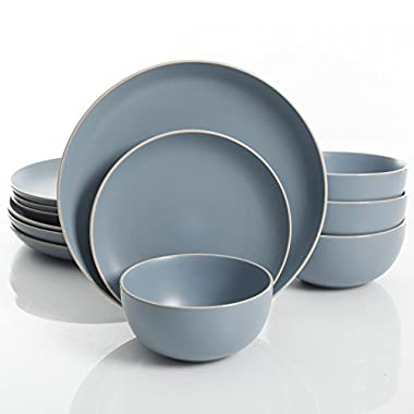 Gibson Home Rockaway 12-Piece Dinnerware Set Service for 4, Blue Matte