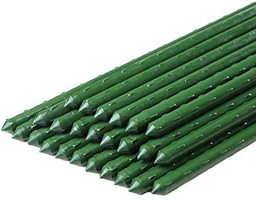 Richday 超直径11 mm・長さ122 cmの堅固なプラスチックコーティング鋼材棒園芸支柱家庭菜園イボ竹 (25本)