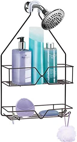 Shower Caddy Hanging over Shower Head Small Rust Roof Shower Organizer with 4 Hooks for Razor product image