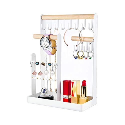 Nordic Ins Hook Schmuckregal Schmuck Display Rack Schmiedeeisen Schminktisch Schmuck Aufbewahrungsregal Halskette Rack mit Holzring Tablett und Haken