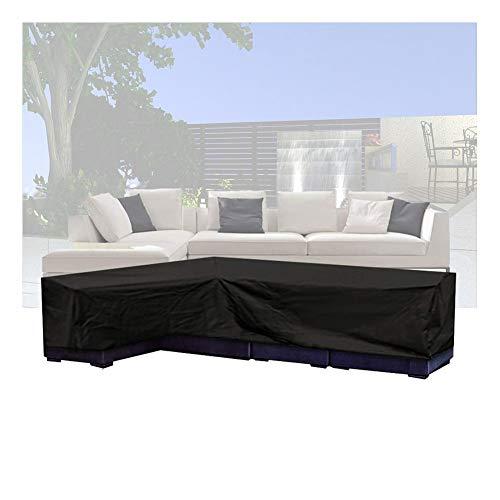 NINGWXQ L Type Furniture Cover waterdichte Anti-UV Terrace Corner Cross Sofa Cover Device rechthoekige tafel dekken, Meerdere Maten (Color : Black, Size : 200X270X90CM)