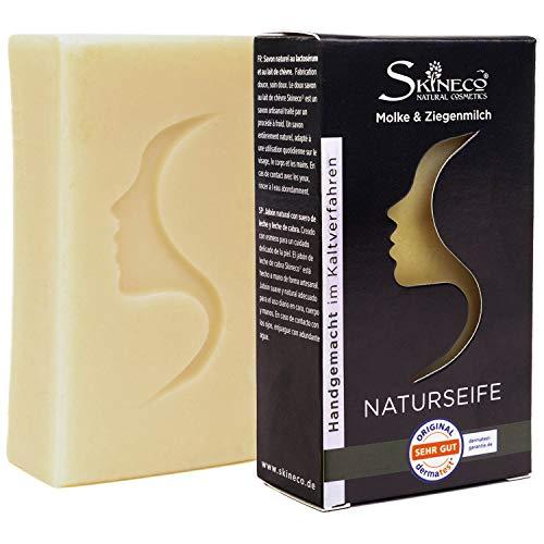Skineco Naturseife | nachhaltige Ziegenmilchseife mit Molke | Stück Seife für trockene empfindliche Haut | Körperseife | handgemachte Naturkosmetik | Gesicht Reinigung | clear skin | mildes Duschgel