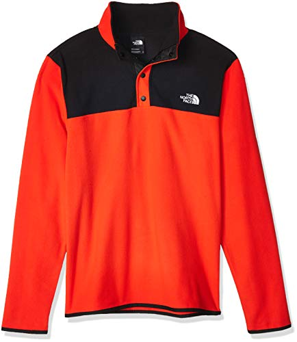 The North Face Men's TKA Glacier Snap-Neck Pullover, Fiery Red/TNF Black, L