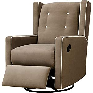 Gliding Chair Glider for Nursery Rotating Swivel Button Tufting Recliner Chair Armrest Relaxation Leg Rest Modern Indoor Comfy Contemporary Comfortable Bedroom Furniture Beige & eBook by NAKSHOP