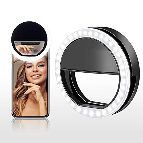 Cell Phone Selfie Ring Light for iPhone Rechargeable Clip On Led O Ring Light for Laptop Tablet Camera Mini Halo Circle Fill Light for Makeup Photography Video Live Stream,3 Level Brightness,Black