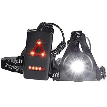Nabance Rechargeable LED Lampe Running USB Lumière pour Course Étanche Lumière de Poitrine pour Course à Pied Confortable Lampe de Poitrine pour Jogging Course Pêche Randonnée Sports Extérieur