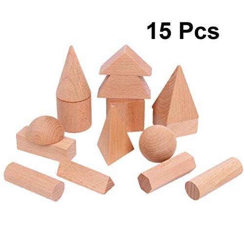 Supvox 15 Stücke Bausteine ??Holz Geometrie Blöcke Spiel Stapler 3D Würfel Zylinder Kreis Kegel Quader Kombination Spielzeug für Kleinkinder Vorschulalter