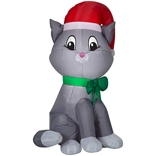 Airblown Inflatables Christmas Decor 3.5 Cat with Santa Hat