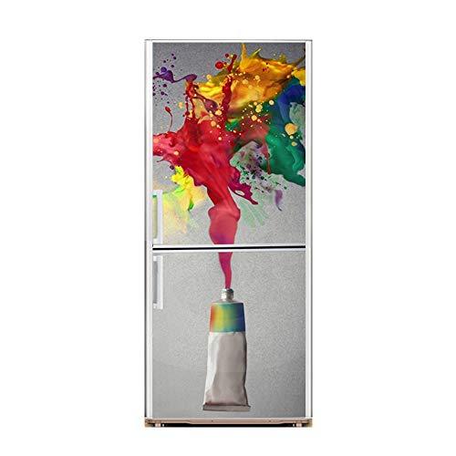 XIAOMAN Adesivi per frigo da Cucina Acquerello HD Frigorifero Porta Wrap Cover Rimovibile Autoadesivo Fai da Te Art Decal (Color : 1, Size : 60 * 180cm)