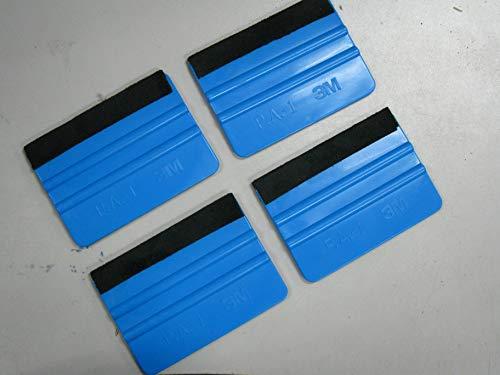3M Plastic Felt Edge Squeegee 4 inch for Car Vinyl Scraper Decal Applicator Tool (with Black Felt Edge) (4pc)