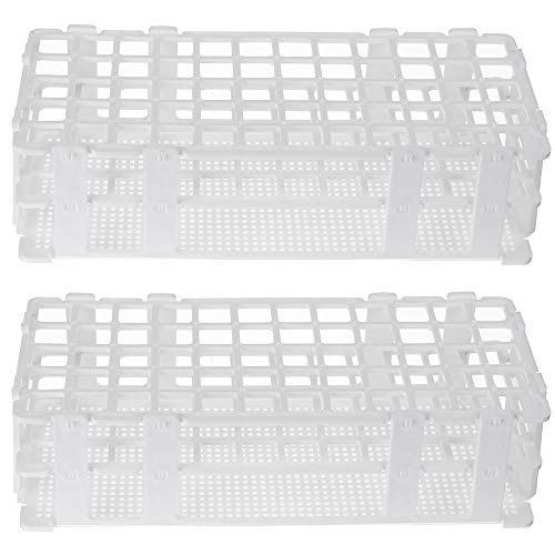 2 Pack 60 Holes Lab Test Tube Rack Holder for 16mm Test Tubes White Plastic Test Tube Rack for Scientific Experiments,Scientific Theme Party Decorations