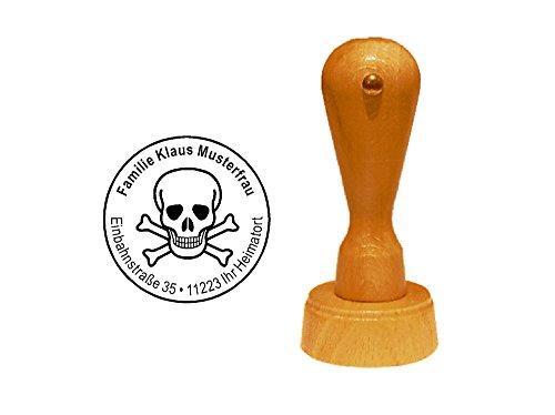 Stempel Holzstempel Adressstempel « TOTENKOPF » Durchmesser ca. Ø 40 mm - mit persönlicher Adresse und Motiv - Gefahrgut Pirat Schädel Gift