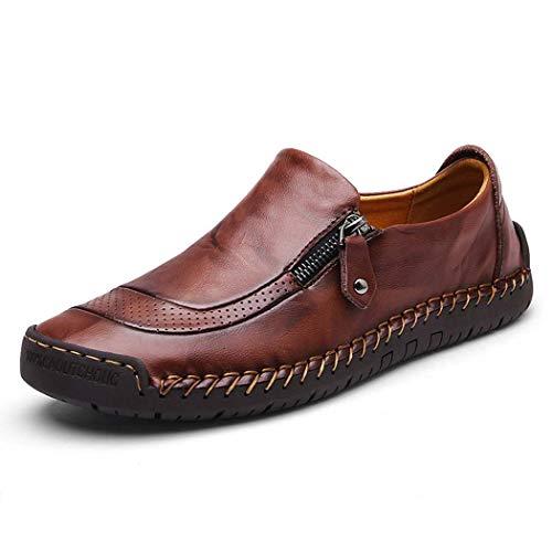 AZLLY Heren Casual Schoenen Slip op Moccasins Hand Stitching Rits Antislip Casual Walking Sneaker Loafer Boot Schoenen Ademend Zwart Rijden Schoenen
