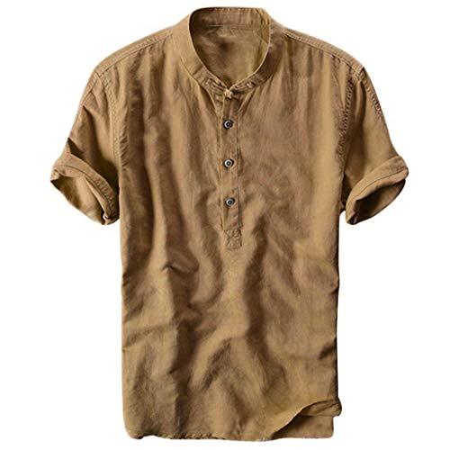 Celucke Oversize Leinenhemd Herren Kurzarm Grandad Ausschnitt, Männer Freizeithemd Henley Shirt Sommer Casual Hemden Leichte Atmungsaktives Bequem Leinen Sommerhemden (Gelb, L)