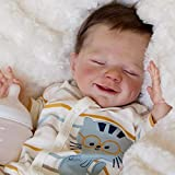 22inch Reborn Baby Dolls Soft Silicone Vinyl Baby Doll Handmade Doll with Real Clothes Magnetic Mouth Baby Dolls, Best Gifts for Boys and Girls Beginner Mothers (Boy)