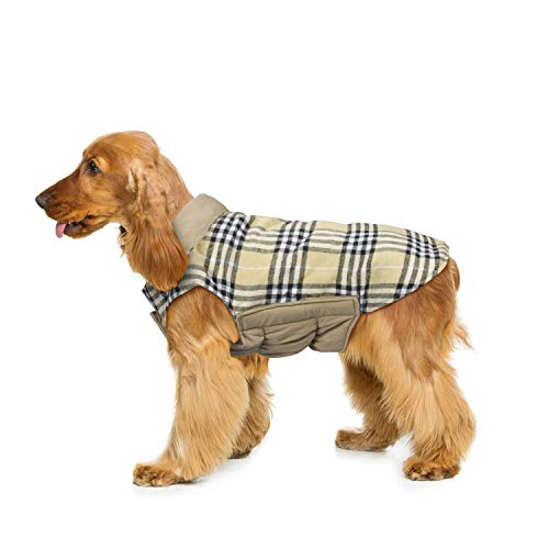 WOOCE Hund Wendejacke Plaid Herbst Winter Warm Cozy Weste British Style, Gepolsterte Jacke für Kleine medium Große Hunde (XL, Beige)