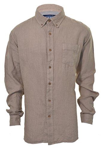 The New Ivy Brand Vintage Classics 100% Linen Long Sleeve Shirt (Large, Kahaki)